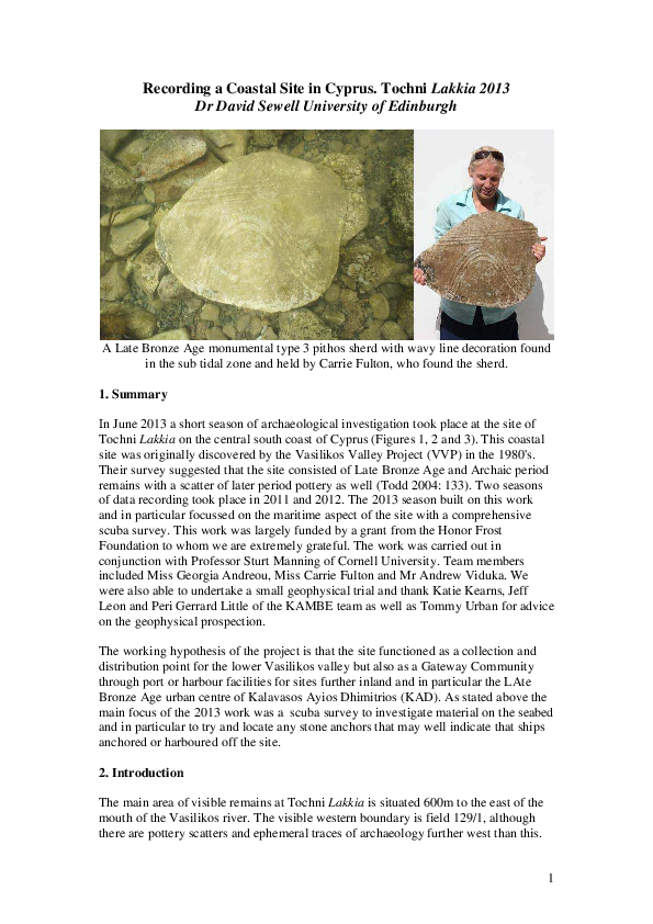 PDF) Recording a Coastal Site in Cyprus  Tochni Lakkia 2013