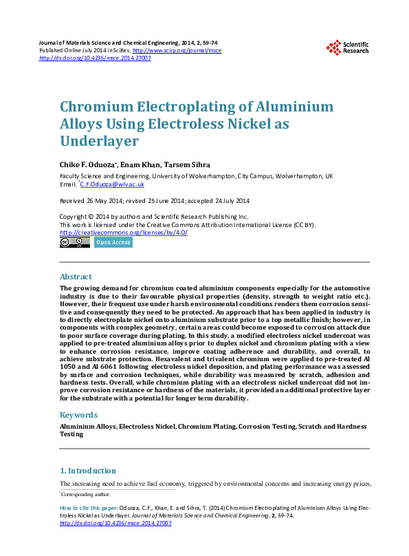 PDF) Chromium Electroplating of Aluminium Alloys Using