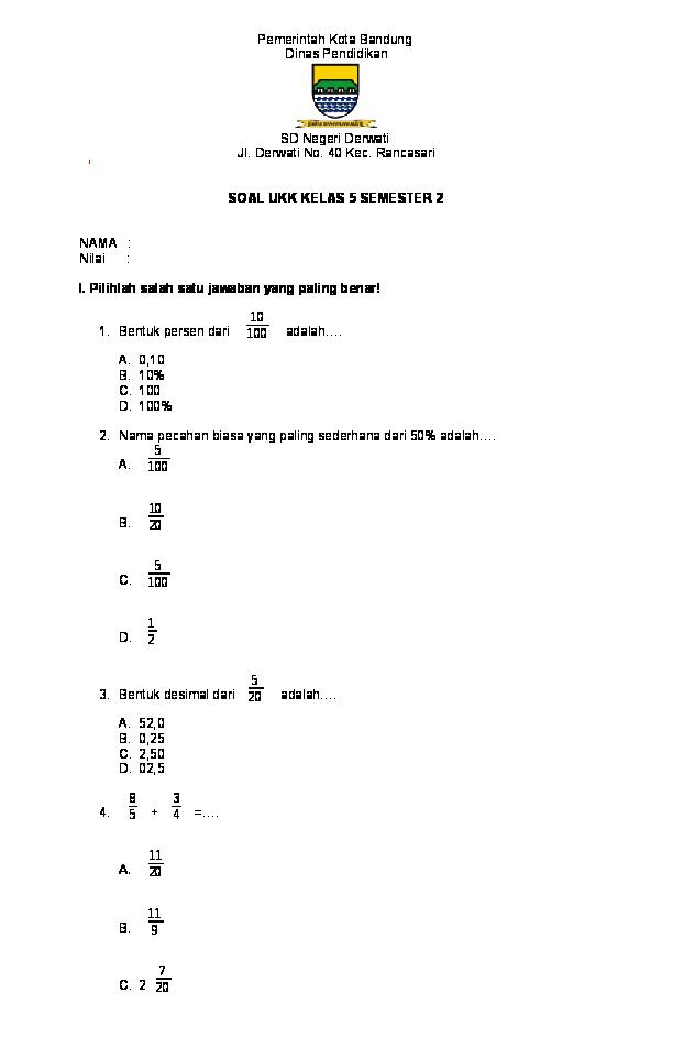 Kunci Jawaban Matematika Kelas 5 Mata Pelajaran