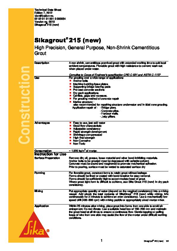 PDF) Construction Sikagrout ® 215 (new | DDFI Purwakarta - Academia edu
