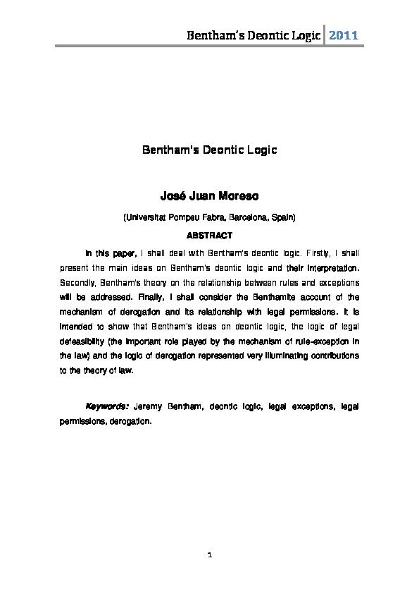 Bentham essay on logic homework wiki