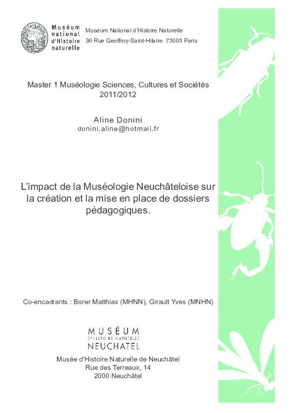 Pdf L Impact De La Museologie Neuchateloise Sur La Creation