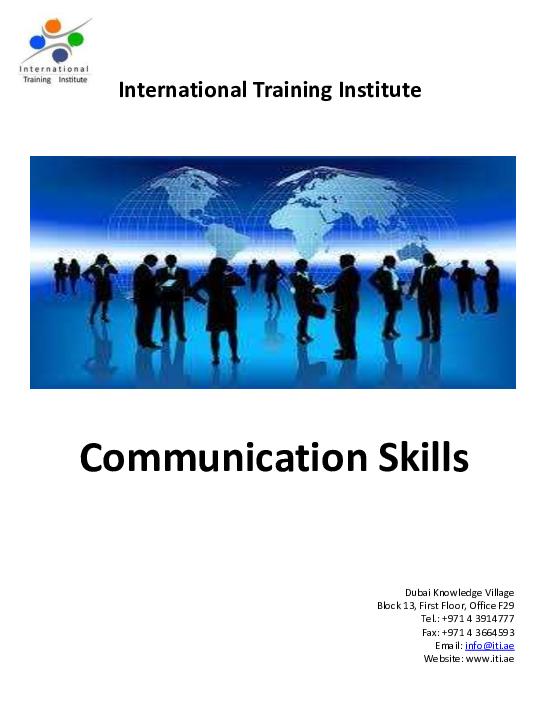 PDF) Communication Skills International Training Institute