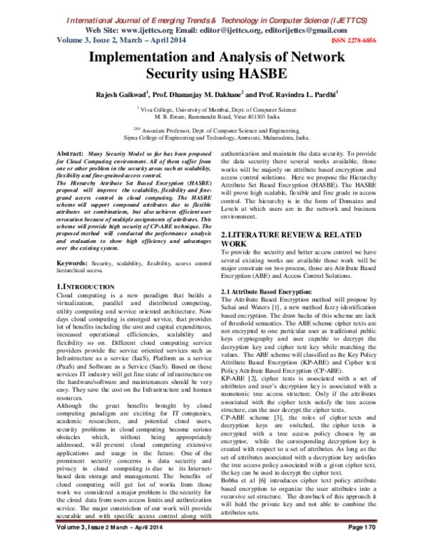 PDF) Implementation and Analysis of Network Security using