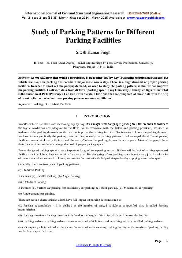 PDF) Study of Parking Patterns for Different Parking Facilities