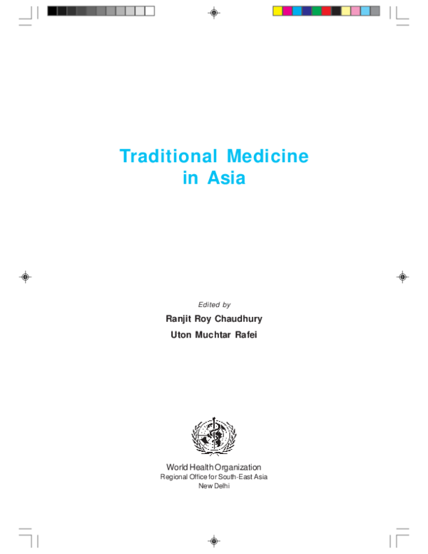 PDF) Traditional Medicines in Asia (WHO for South East Asia