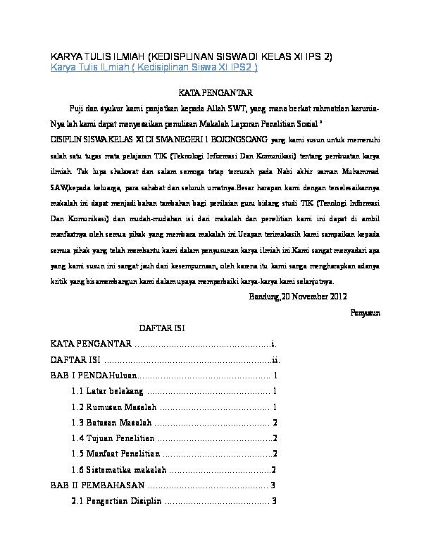 Doc Karya Tulis Ilmiah Kedisplinan Siswa Di Kelas Xi Ips 2 Karya Tulis Ilmiah Kedisiplinan Siswa Xi Ips2 Debora Hilderia Marbun Academia Edu