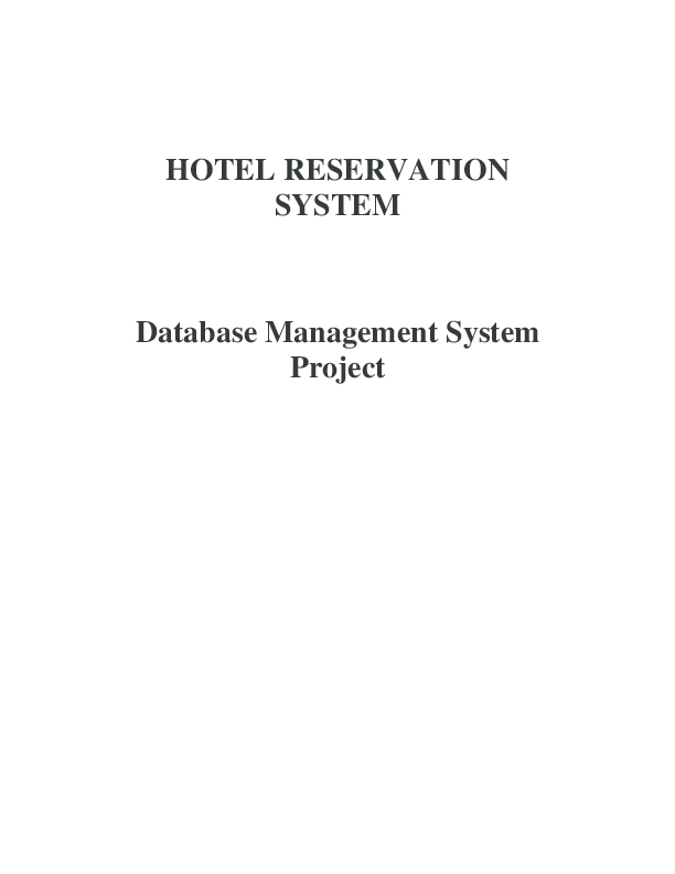 PDF) HOTEL RESERVATION SYSTEM Database Management System
