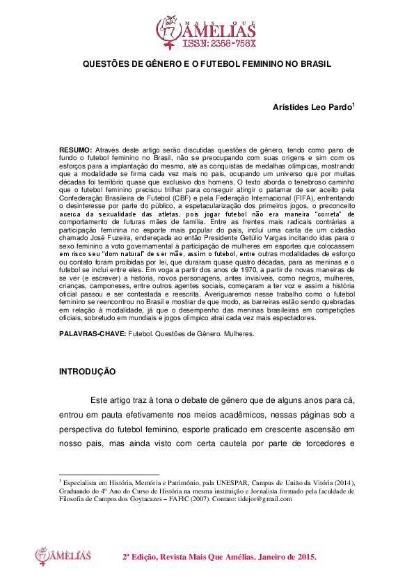 9186c86dcaf30 PDF) QUESTÕES DE GÊNERO E O FUTEBOL FEMININO NO BRASIL