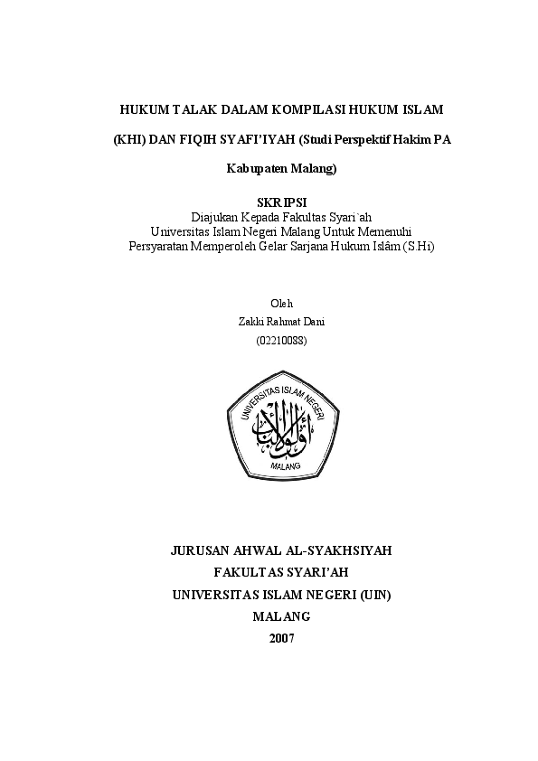 Pdf Hukum Talak Dalam Kompilasi Hukum Islam Neng Zulfa Academia Edu