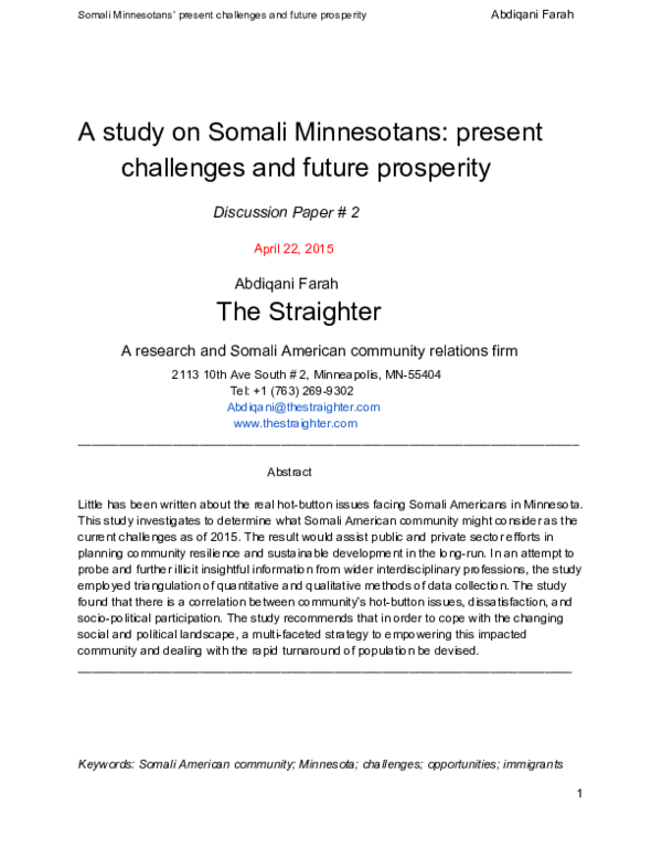 PDF) A study on Somali Minnesotans: present challenges and