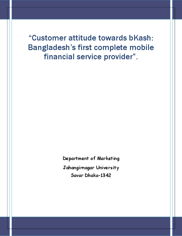 PDF) Customer attitude towards bKash: Bangladesh's first