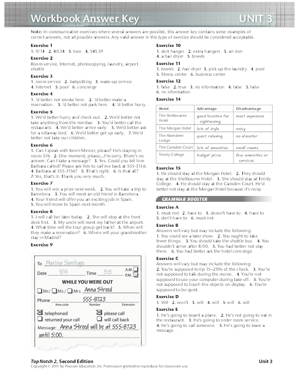 PDF) Workbook Answer Key top notch 2 unit 3 | Byron Bravo