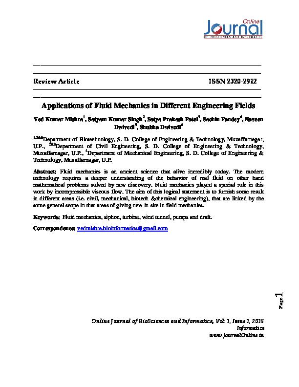 PDF) Applications of Fluid Mechanics in Different Engineering Fields