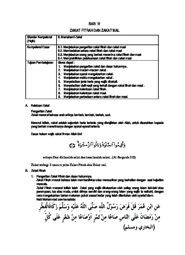 Pdf Bab Iv Zakat Fitrah Dan Zakat Mal Khairul Anwar Academia Edu