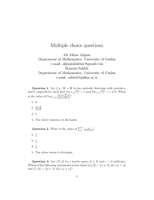 PDF) Multiple Choice Questions on Mathematics | Aliakbar Alijani