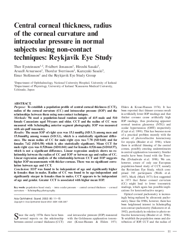 PDF) Central corneal thickness, radius of the corneal
