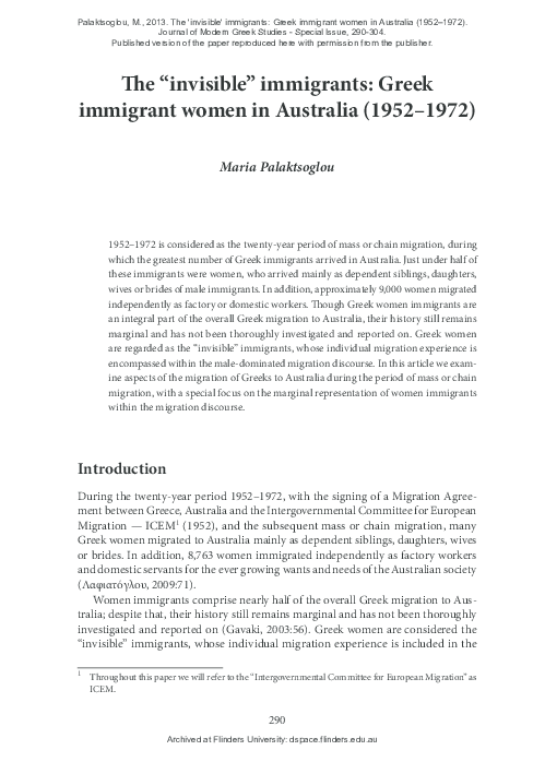 """PDF) The """"invisible"""" immigrants: Greek immigrant women in"""