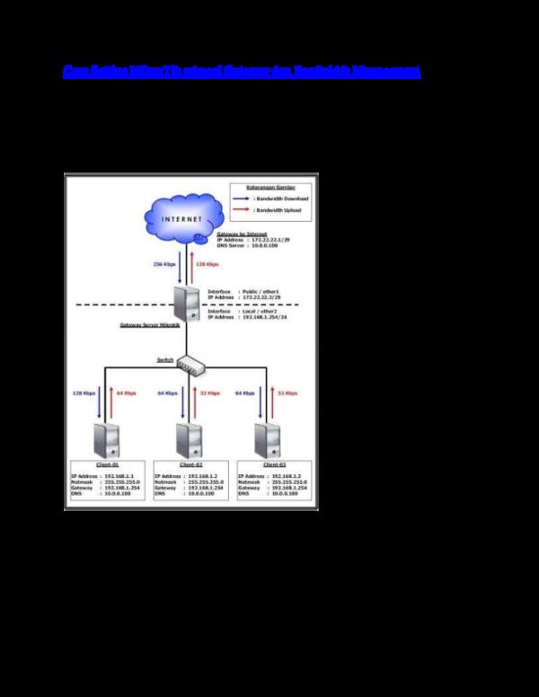 PDF) Cara Setting MikroTik sebagai Gateway dan Bandwidth Management