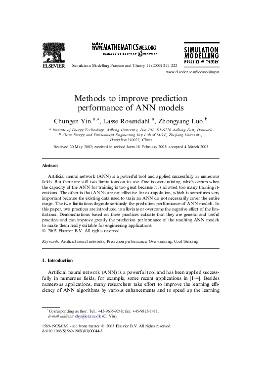 PDF) Methods to improve prediction performance of ANN models