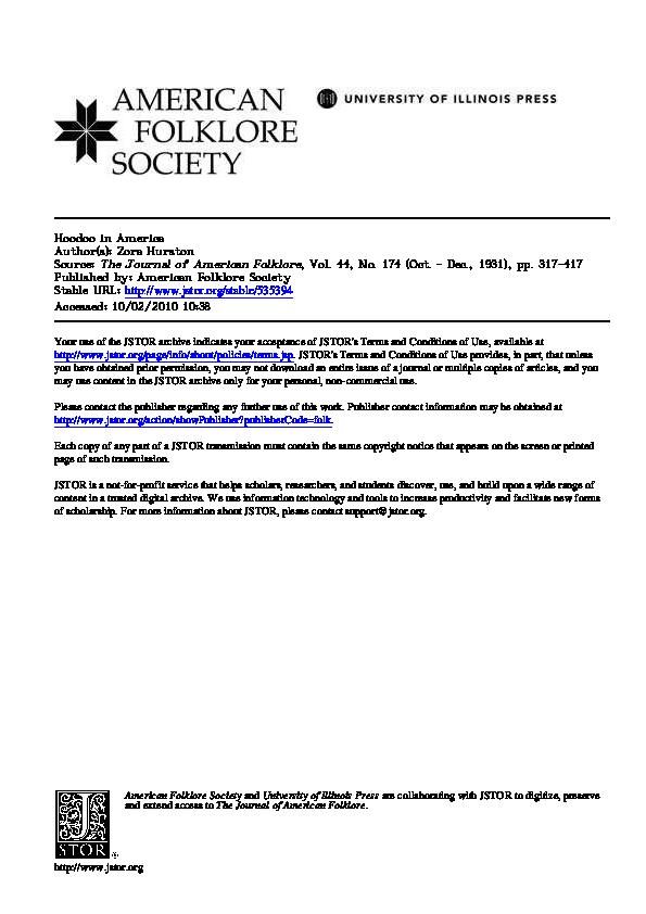 PDF) Hoodoo in America | Gullah Sun - Academia edu