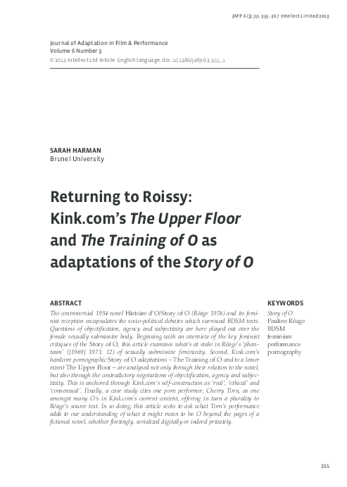 Pdf Returning To Roissy Kink Com S The Upper Floor And