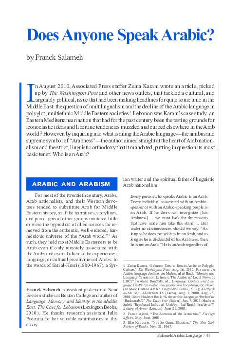 PDF) Does Anyone Speak Arabic?   Franck Salameh - Academia.edu