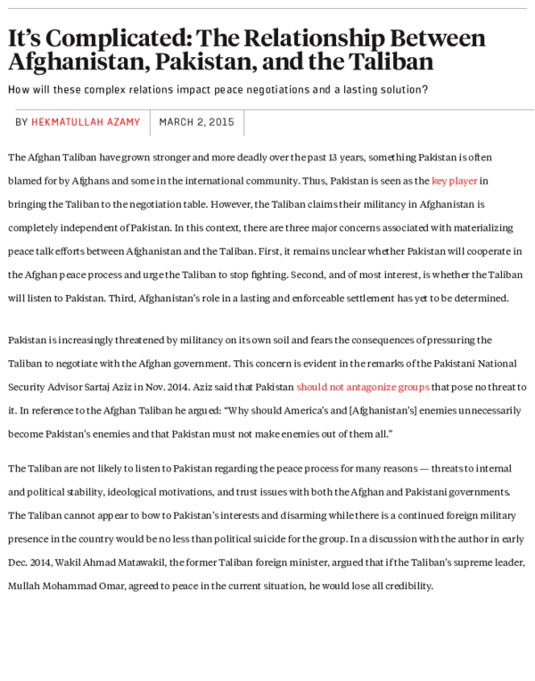PDF) It's Complicated: The Relationship Between Afghanistan