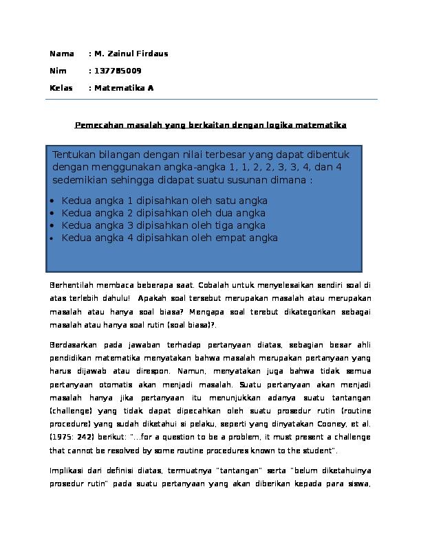 Doc Contoh Soal Pemecahan Masalah Matematika Enoeng Firdaus Academia Edu