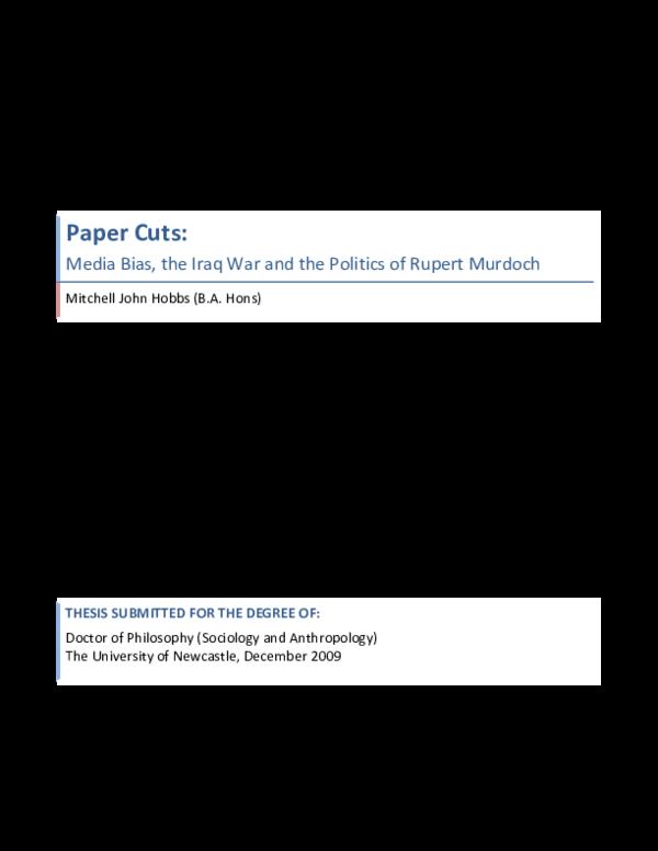 PDF) Paper Cuts: Media Bias, the Iraq War and the Politics
