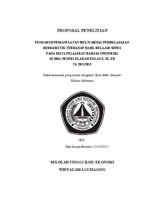 Contoh Proposal Penelitian Pipit Susanty Academia Edu