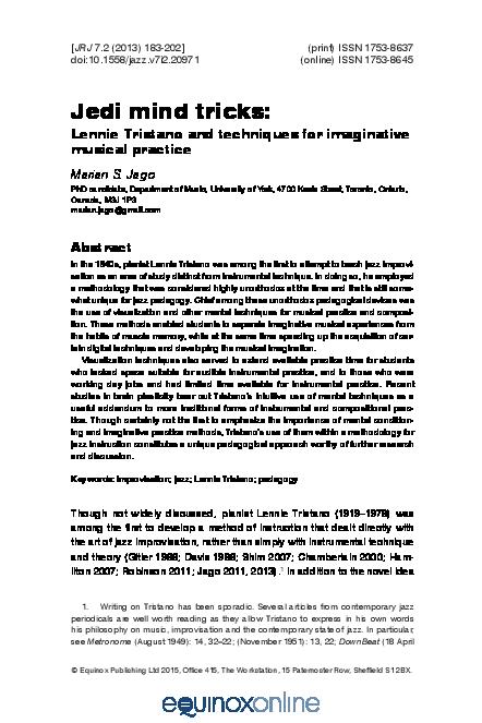 PDF) Jedi mind tricks: Lennie Tristano and Techniques for