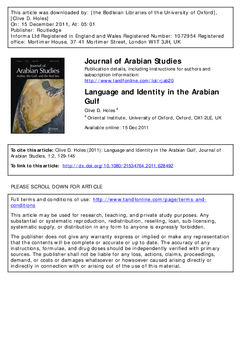 PDF) Language and Identity in the Arabian Gulf | Clive Holes