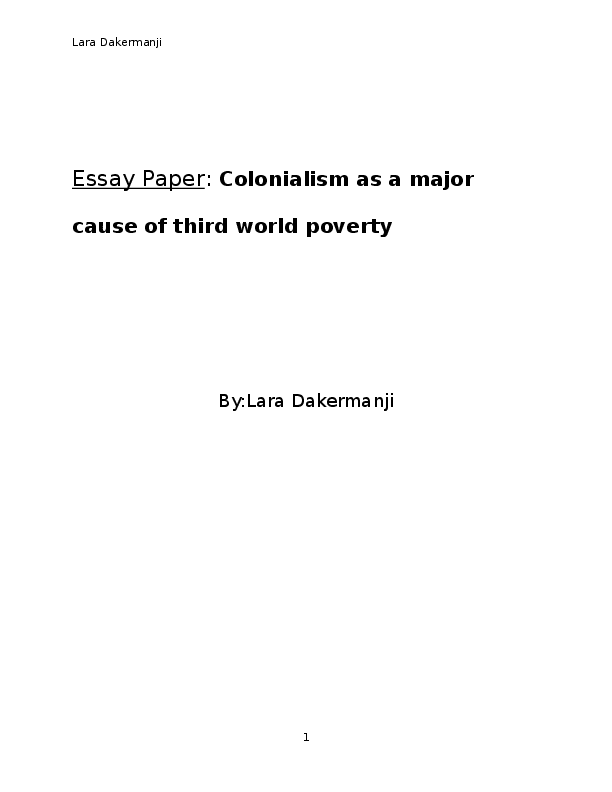 colonialism as a major cause of third world poverty  lara  docx