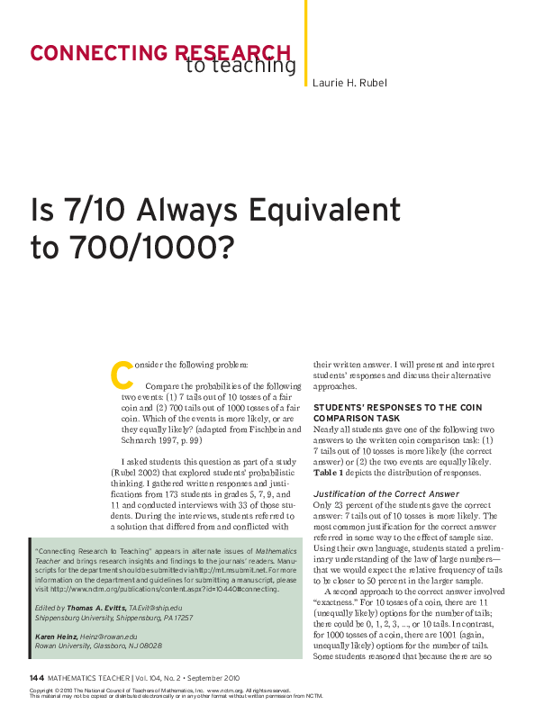 PDF) Is 7/10 always equivalent to 700/1000? | Laurie Rubel