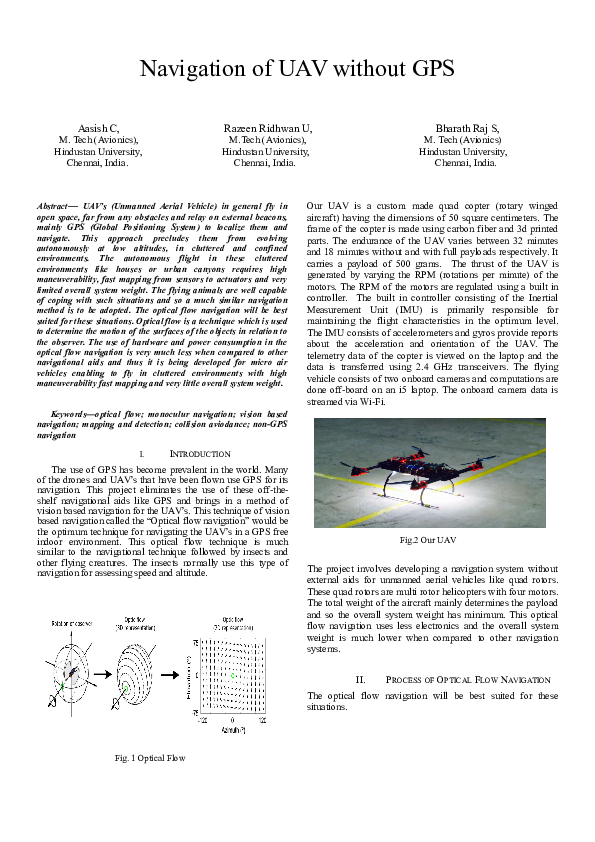 DOC) NAVIGATION OF UAV WITHOUT GPS | RAZEEN RIDHWAN U