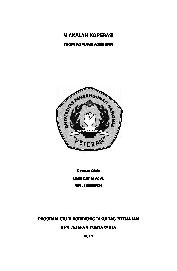 Pdf Makalah Koperasi Galih Damar Adya Academia Edu