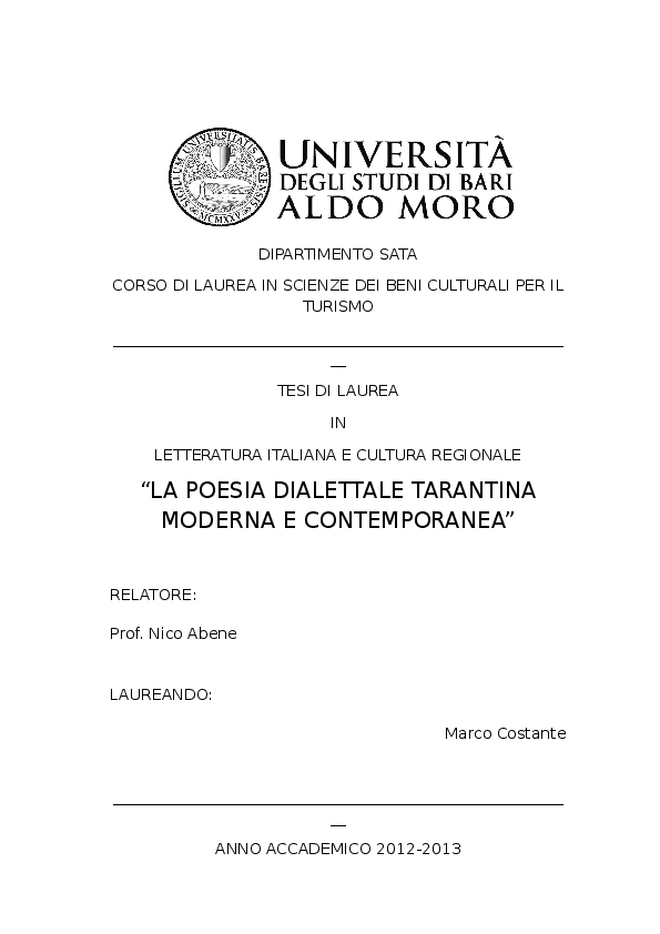 Poesie Di Natale In Dialetto Tarantino.Pdf La Poesia Dialettale Tarantina Moderna E Contemporanea