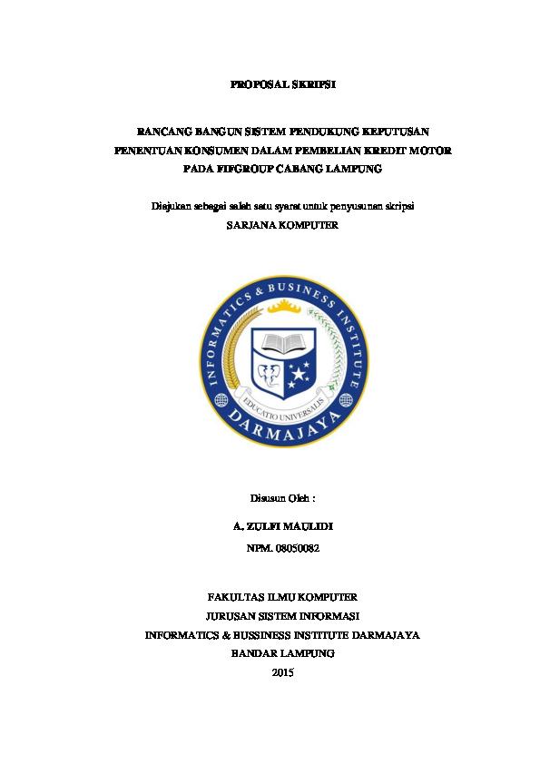 Pdf Contoh Proposal Skripsi Menggunakan Sistem Pendudkung