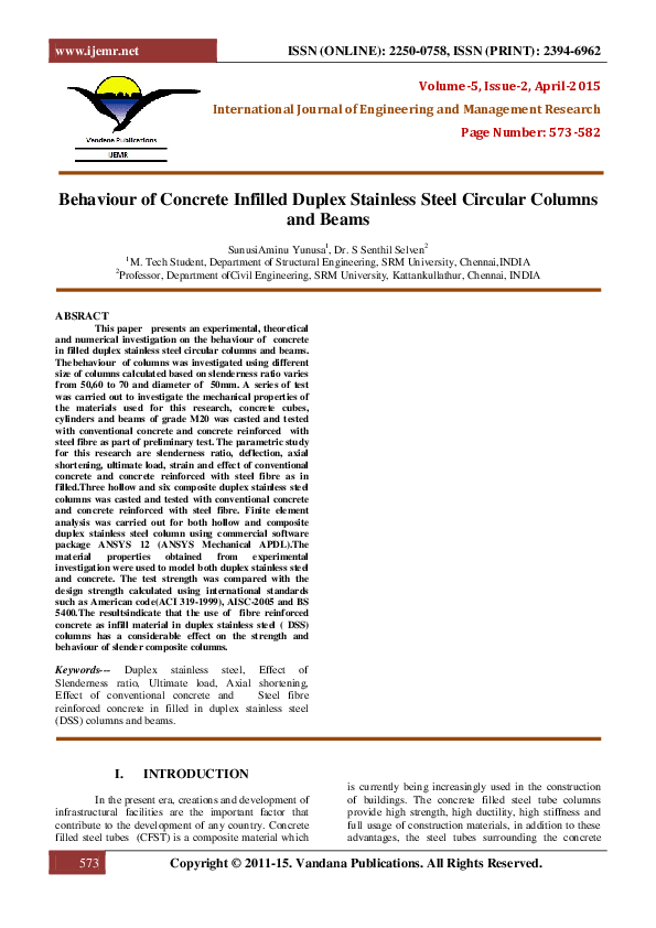 PDF) Behaviour of Concrete Infilled Duplex Stainless Steel