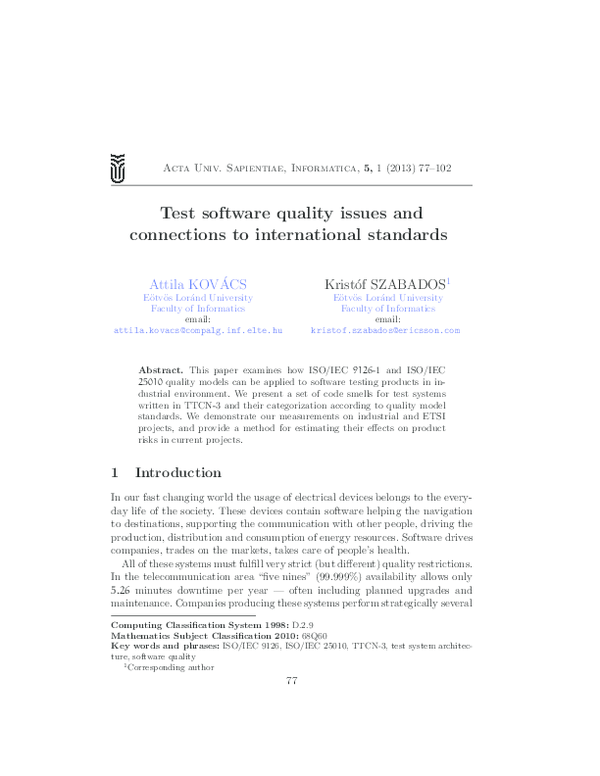 PDF) Test software quality issues and connections to international