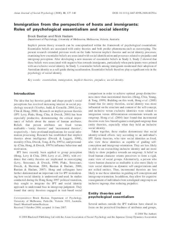 Pdf Psychological Essentialism And Social Identification Brock