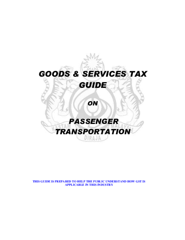 (PDF) GOODS & SERVICES TAX GUIDE ON PASSENGER
