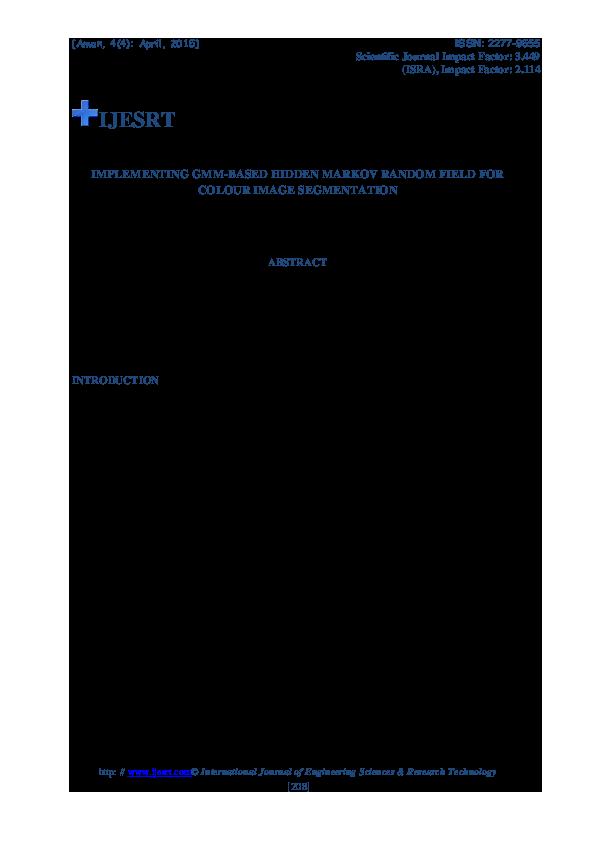 PDF) IMPLEMENTING GMM-BASED HIDDEN MARKOV RANDOM FIELD FOR