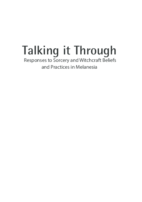 PDF) Talking it Through: Responses to Sorcery and Witchcraft Beliefs