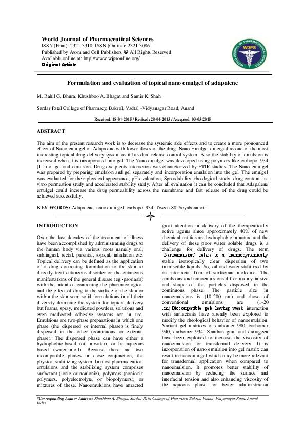 Emulgel formulation pdf