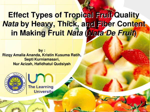 PDF) Effect Types of Tropical Fruit Quality Nata by Heavy