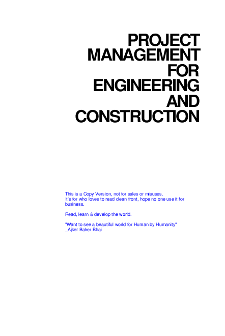 PDF) Project Management for Engineering and Construction by