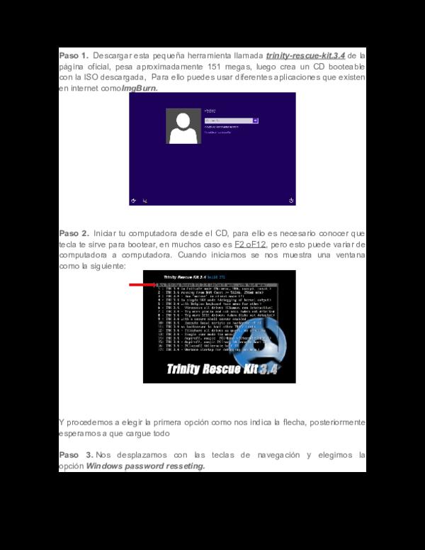 trinity rescue kit 3.4 quitar contraseña windows 8