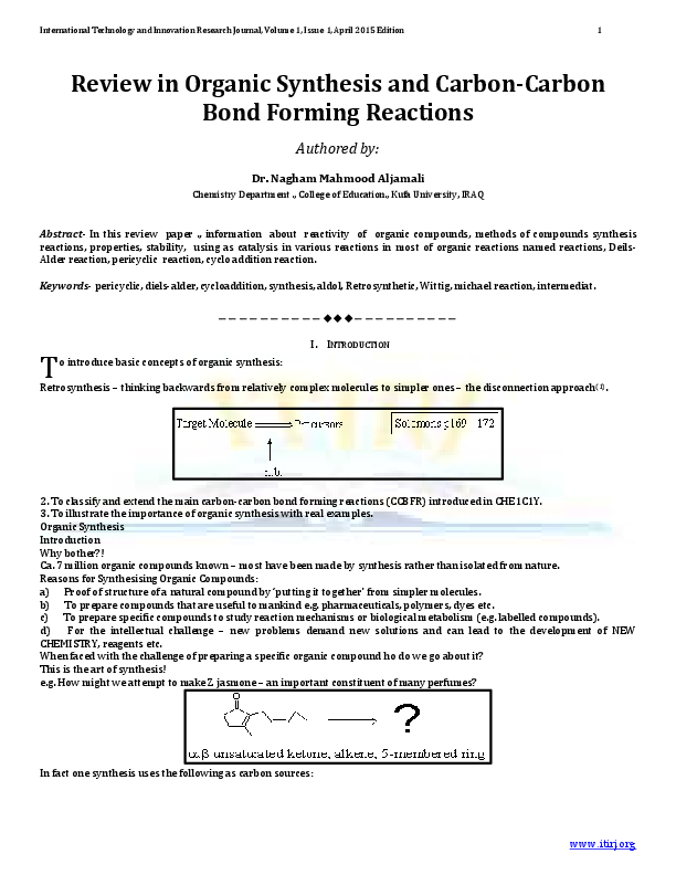 PDF) Review in Organic Synthesis and Carbon-Carbon Bond